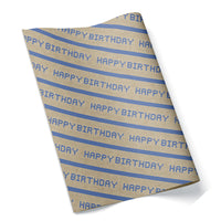 Happy Birthday Houston Blue Tiles Wrapping Paper