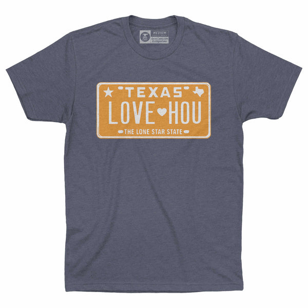LOVE HOU Texas License Plate T-Shirt | Astros Orange on Blue