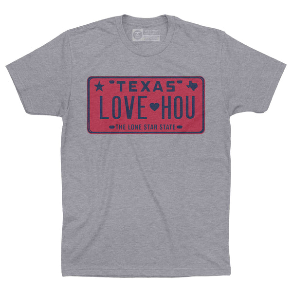 LOVE HOU Texas License Plate T-Shirt | Texans Red and Blue