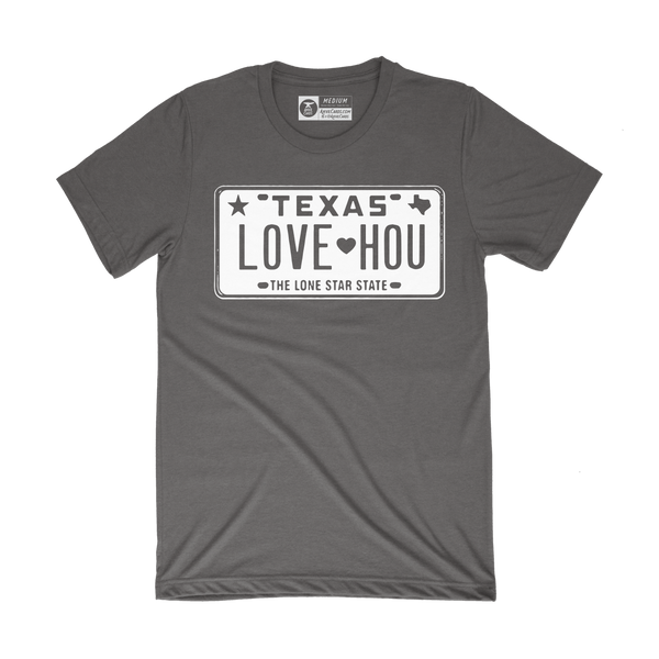 LOVE HOU Texas License Plate T-Shirt | Black and White