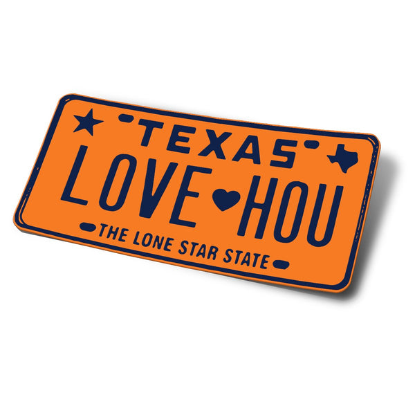 LOVE HOU License Plate Bumper Sticker | Astros Orange