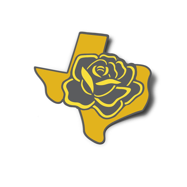 Texas with Yellow Rose Sticker