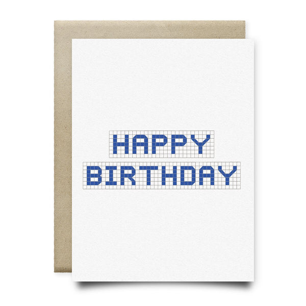 Happy Birthday | Houston Blue Tiles Greeting Card - Cards