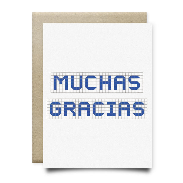 Muchas Gracias | Houston Blue Tiles Greeting Card - Cards
