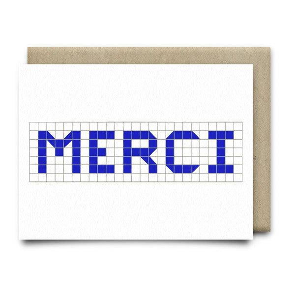Merci | Houston Blue Tiles Greeting Card - Cards
