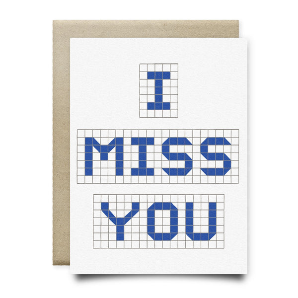 I Miss You | Houston Blue Tiles Greeting Card - Cards