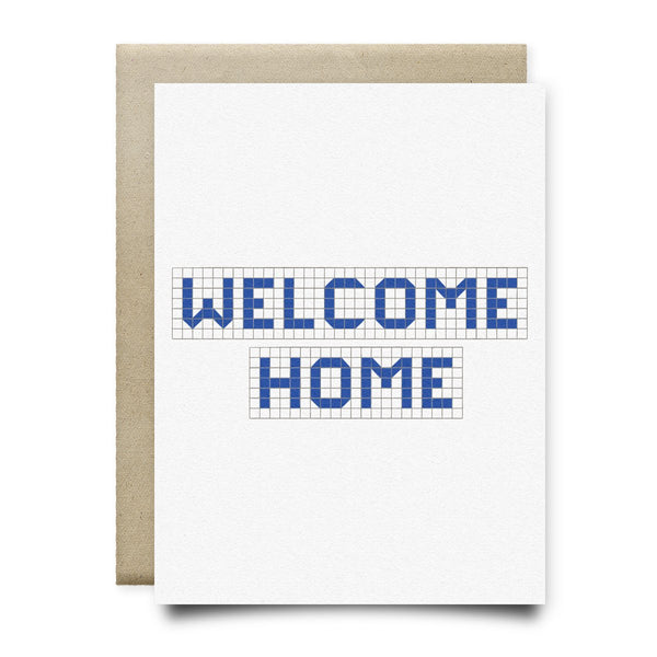 Welcome Home | Houston Blue Tiles Greeting Card - Cards