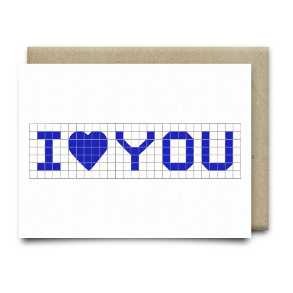 I Heart You | Houston Blue Tiles Greeting Card - Cards