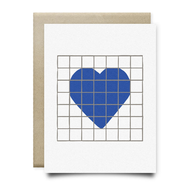 Heart | Houston Blue Tiles Greeting Card - Cards