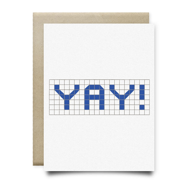Yay | Houston Blue Tiles Greeting Card - Cards
