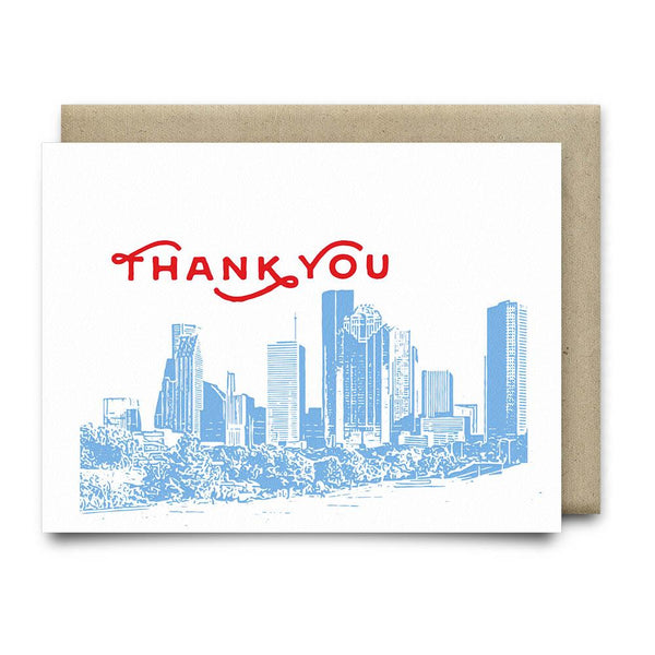 Houston Skyline Thank You Card - Luv Ya Blue - Cards