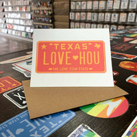 LOVE HOU License Plate Greeting Card | Red