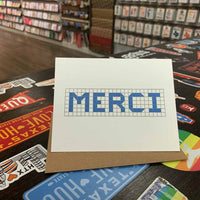 Merci | Houston Blue Tiles Greeting Card