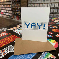 Yay | Houston Blue Tiles Greeting Card