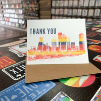 Houston Skyline Thank You Card | Astros Orange and Blue