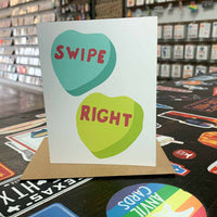 Swipe Right Candy Hearts Greeting Card