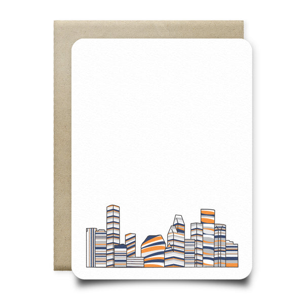 Astros Orange and Blue Houston Skyline Stationery Set