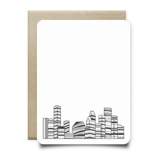 Black and White Houston Skyline Stationery Set