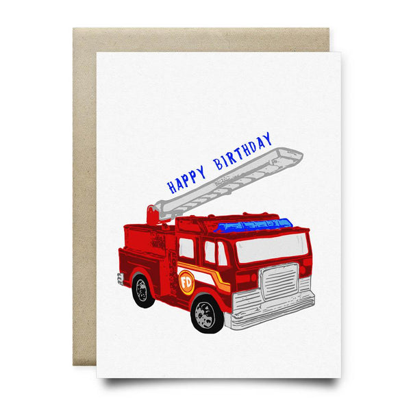 Fire Truck Kids Happy Birthday Card - Cards