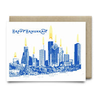 Happy Hanukkah Houston Skyline Hanukkah Card