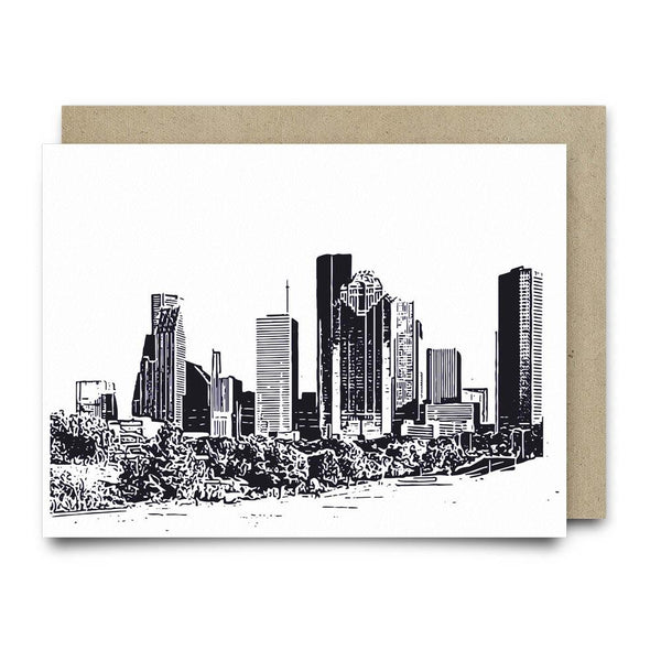 Houston Skyline | Navy Blue - Cards