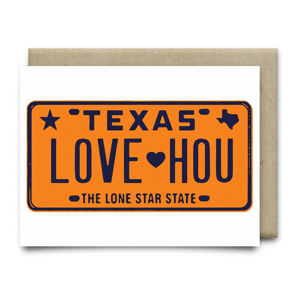 LOVE HOU License Plate Greeting Card | Orange - Cards