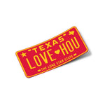 LOVE HOU License Plate Sticker | Rockets Red and Yellow