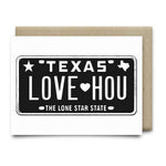 Love HOU License Plate Greeting Card | Black - Cards