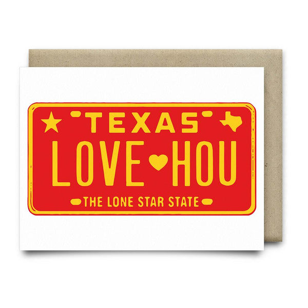 LOVE HOU License Plate Greeting Card | Red - Cards