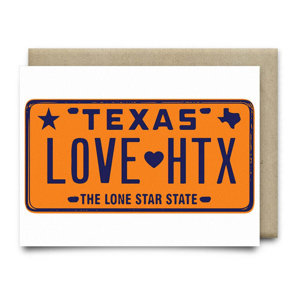 LOVE HTX License Plate Card | Orange - Cards