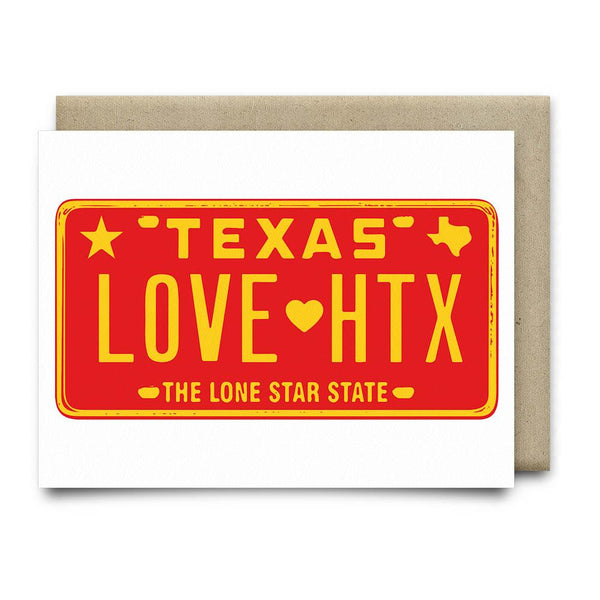 LOVE HTX License Plate Card | Red - Cards