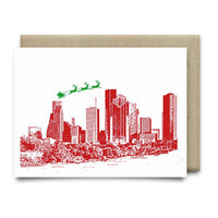Santa Over Houston Christmas Card