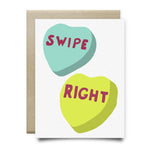 Swipe Right Candy Hearts Greeting Card - Cards