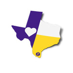 Texas Flag Sticker | Purple and Yellow Heart