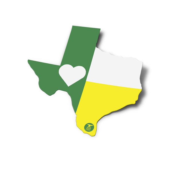 Texas Flag Sticker | Green and Gold Heart