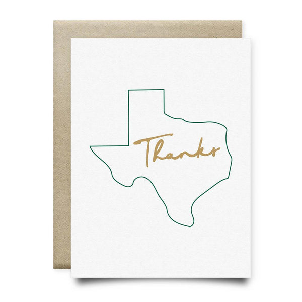 Texas Thank You Card | Green and Gold - Cards