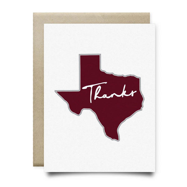 Texas Thank You Card | Maroon - Cards