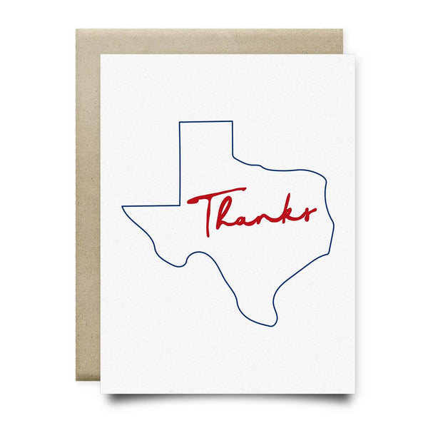 Texas Thank You Card | Red and Blue - Cards