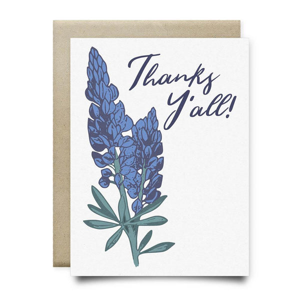 Thanks Yall Bluebonnets Greeting Card - Cards