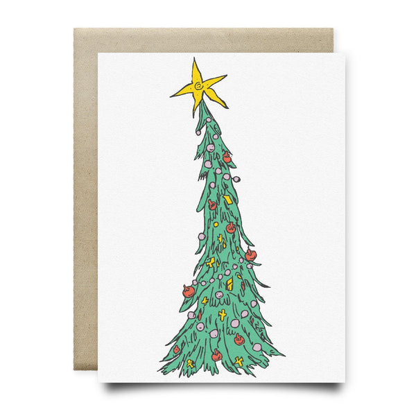 Leaning Tree Christmas Card