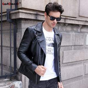 db9490c127240 GustOmerD Brand 2017 Autumn Winter Casual Zipper PU Leather Jacket  Motorcycle Leather Jacket Men Slim Fit Mens Jackets And Coats