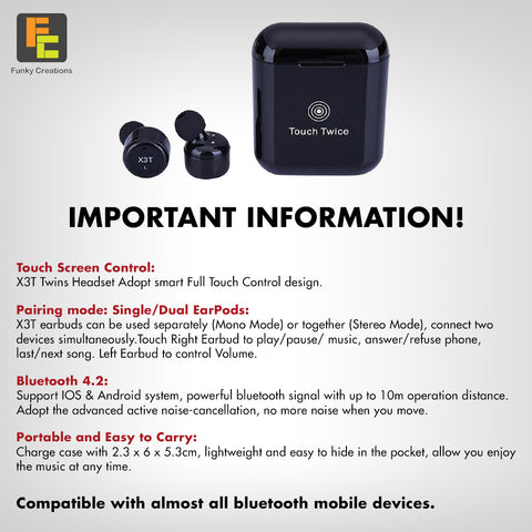 X3T Touch Control Wireless Bluetooth Stero Earbuds – Funky