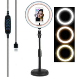 26cm Selfie Ring Light LED, LED Ring Light Mobile Stand up to 55cm Height
