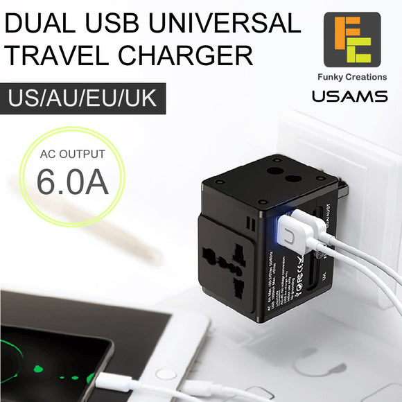 USAMS T2 DUAL USB Universal Travel Charger Adapter US/AU/EU/UK