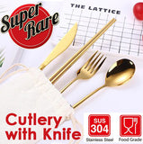 4piece Stainless Steel Cutlery with Pouch, Spoon, Knife, Fork, Chopstick 304 stainless steel.
