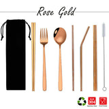304 Stainless Steel Cutlery and Straw Set + Free pouch, 8 in 1 (5 colours)
