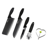 5pcs Black Stainless Steel Knife Kitchen Set