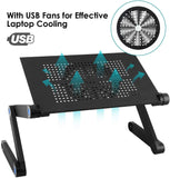 Aluminium Laptop Table Stand with USB Large Cooling Fan & Mouse Table (2 Sizes, Black)