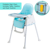 Foldable Baby High Chair with Table, Wheels and Seat Cushions