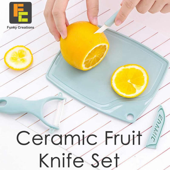 Three Piece Fruit Ceramic Knife Set (3 Colors)